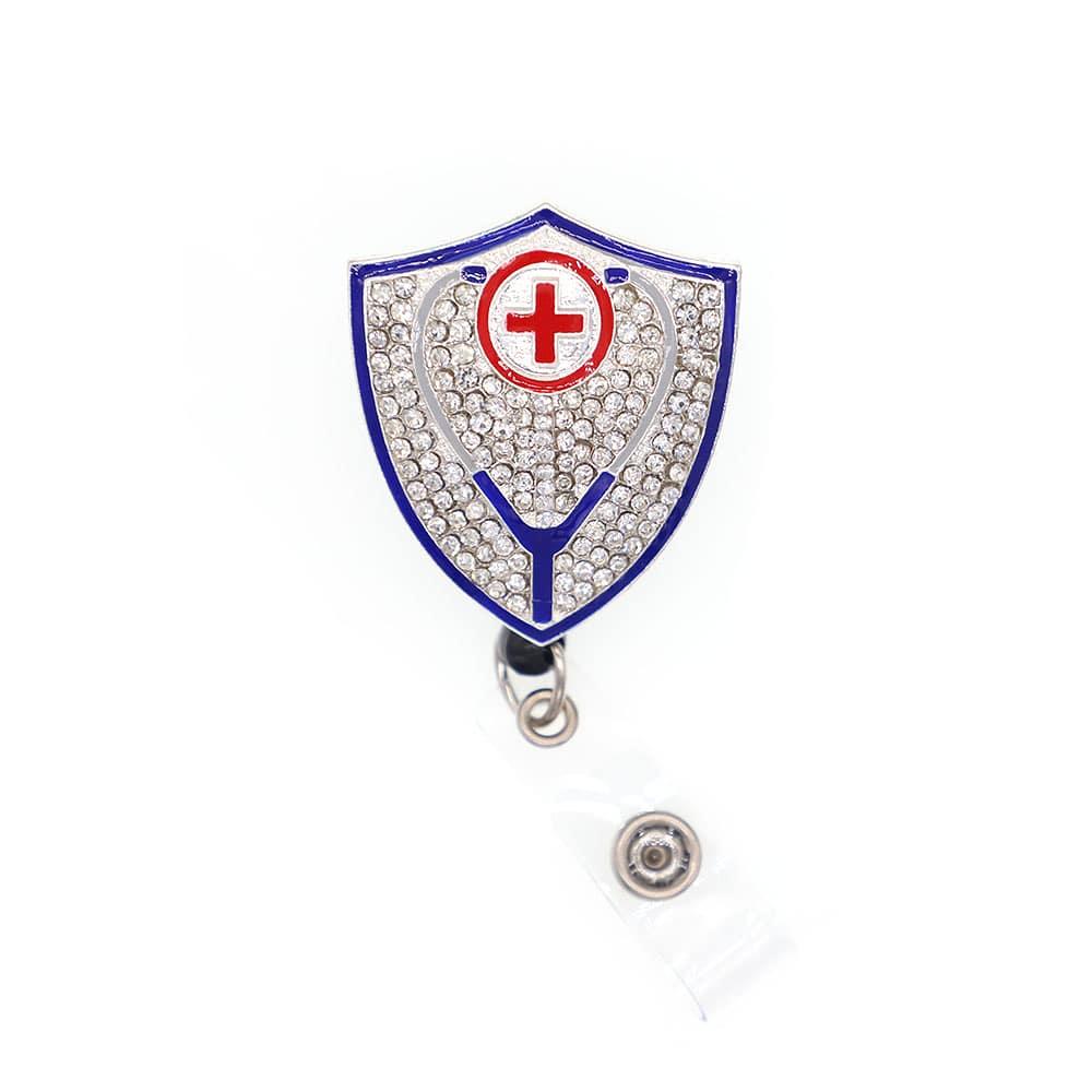 Lot dame Bug strass rétractable Badge bobine/ID Badge titulaire/Id Badge titulaire (bleu clair)