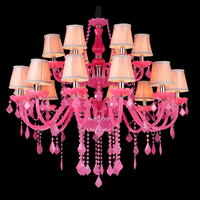 crystal chandelier girls cherry crystal Chandelier Light Modern Lamp Decoration of Marriage Bedrooms Light Colored Crystal Lamps
