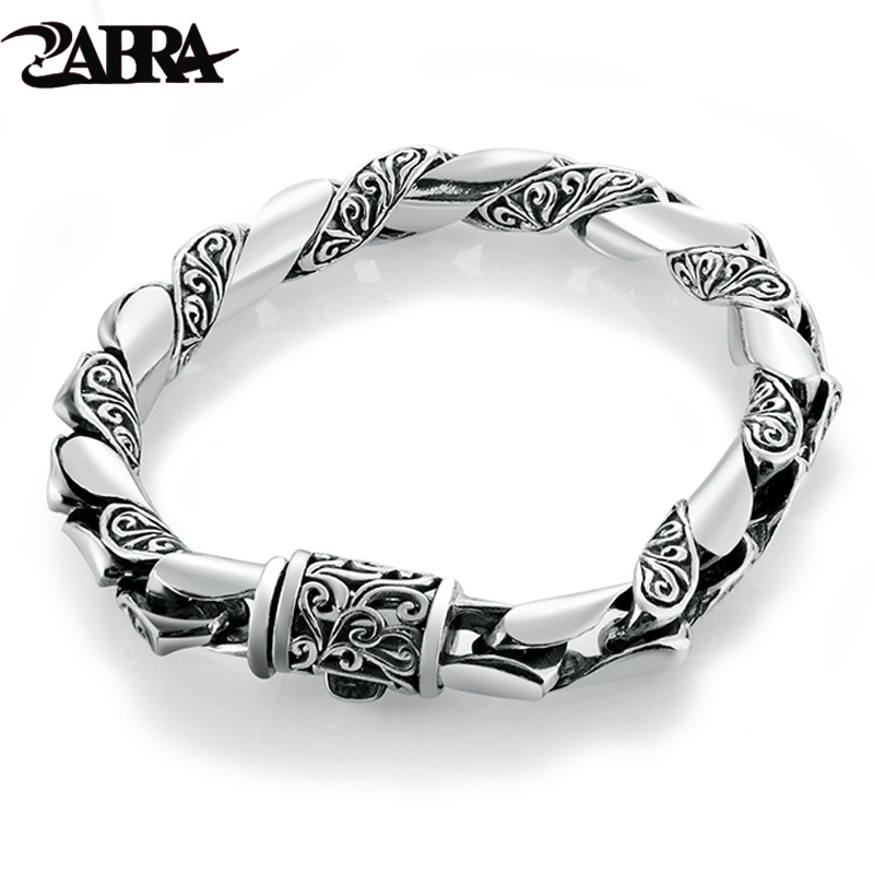 ZABRA 925 Silver Bracelet Men Vintage Punk High Polished Auspicious Flowers Embossed Bracelets Handmade Thai Silver