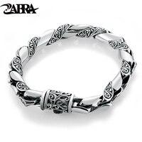 ZABRA 925 Silver Bracelet Men Vintage Punk High Polished Auspicious Flowers Embossed Bracelets Handmade Thai Silver Jewelry