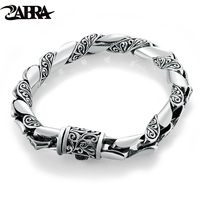 ZABRA 925 Silver Bracelet Men Vintage Punk High Polished Auspicious Flowers Embossed Bracelets Handmade Thai Silver Jewelry