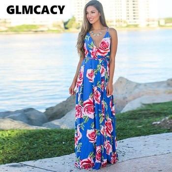 5a61ad3ecd2a0c5 Женское платье с цветочным принтом, глубоким v-образным вырезом, спагетти,  длиной до пола, богемное летнее повседневное пляжное платье без р.