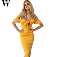 WYHHCJ 2017 Off Shoulder Summer Dress Sexy Club Bow Backless Zipper Solid Sheath Fashion Party Dresses
