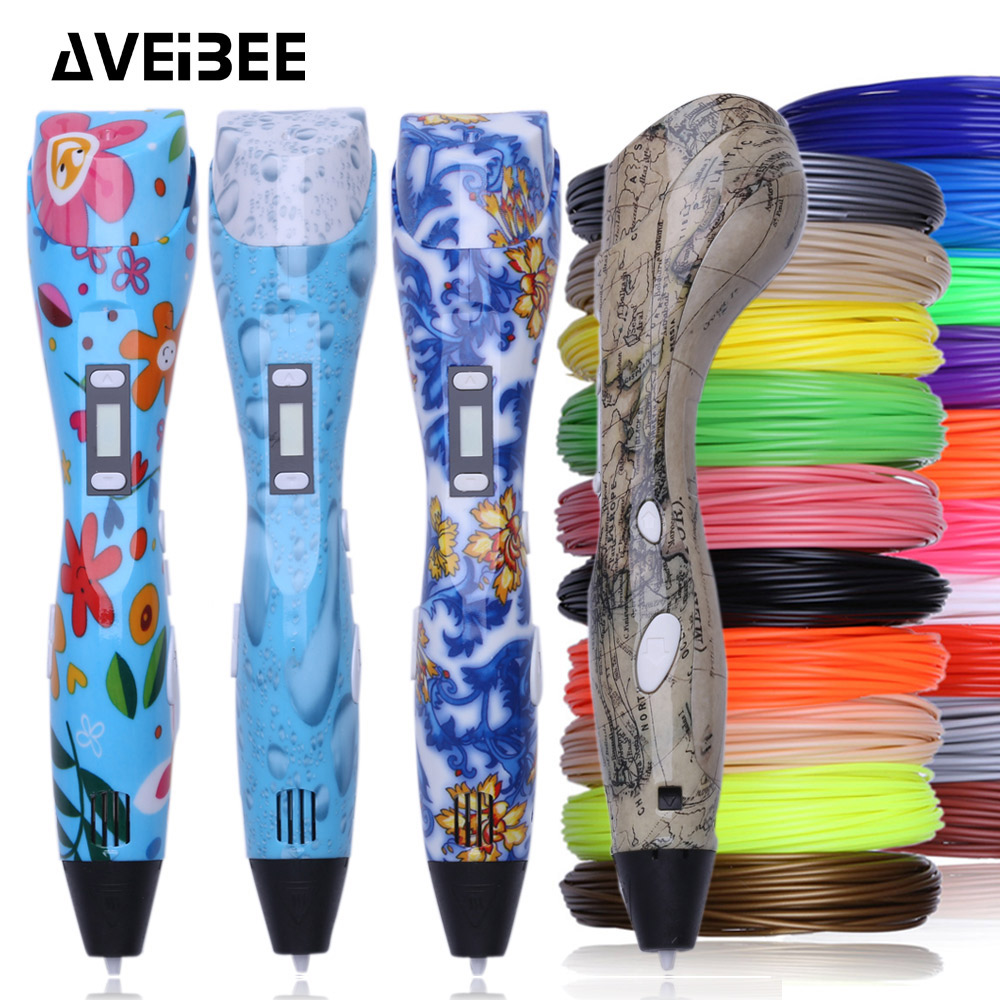 2018 new model 3d pen 3 d printing pen drawing pens with 10/20 color PLA filament refill hot cold temperature for birthdays gift eu adapter 3d printing pens 3 d drawing pen 3d model with 200m 20 color pla plastic materials creative toy gift for kids