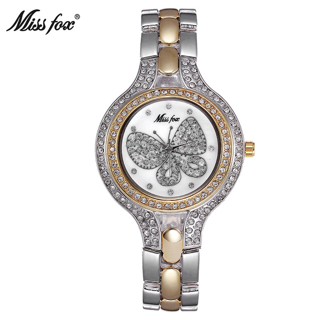 60bde3341 ميس الثعلب ماركة الساعات الأزياء الذهب فراشة الماس الفتيات الساعات المرأة  كوارتز ساعة مقاومة المياه ذهبية