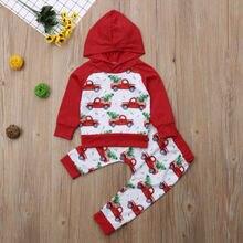 Г., бренд Multitrust, топы с капюшоном и рождественской елкой для новорожденных мальчиков и девочек, свитер и штаны осенний комплект одежды для Кларка и автомобиля, красная одежда