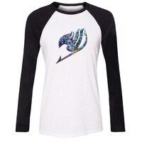 IDzn Phụ Nữ T-Shirt Mát Nhật Bản Cổ Điển anime Fairy Tail Mô Hình Raglan Dài Tay Áo Cô Gái T áo sơ mi Giản Dị Lady Tee Tops