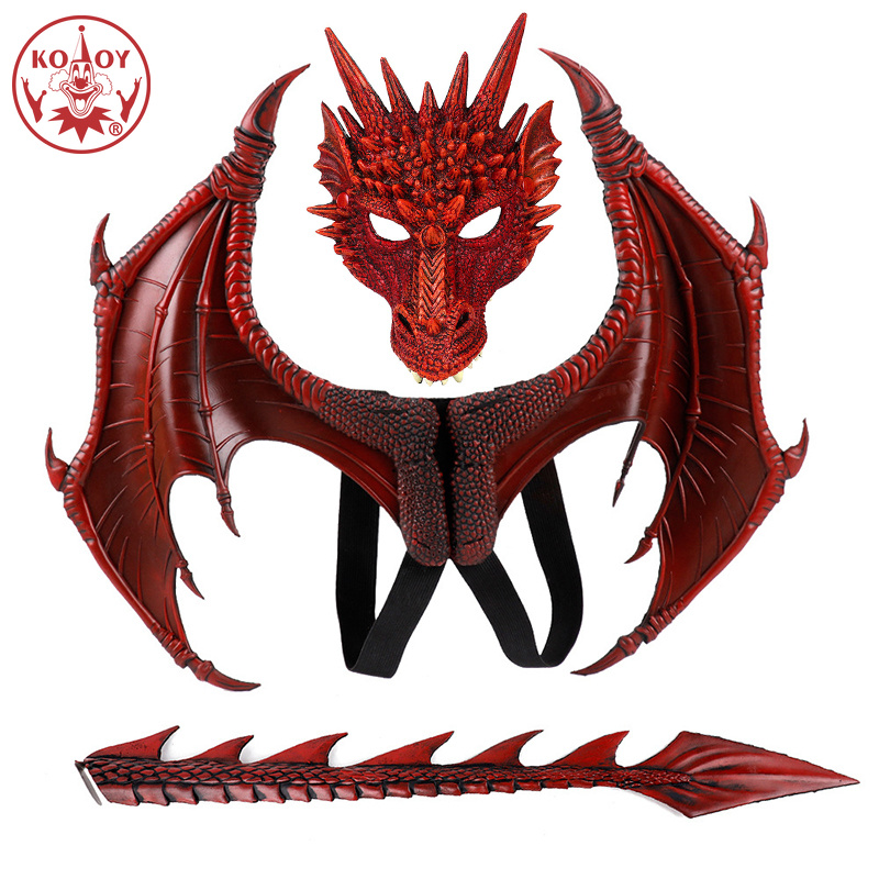 2019 Hot Game Of Thrones Costume Dragon Masks Dragon Wing Dinosaurio Halloween Costume For Kids Children Flying Dragon Cosplay