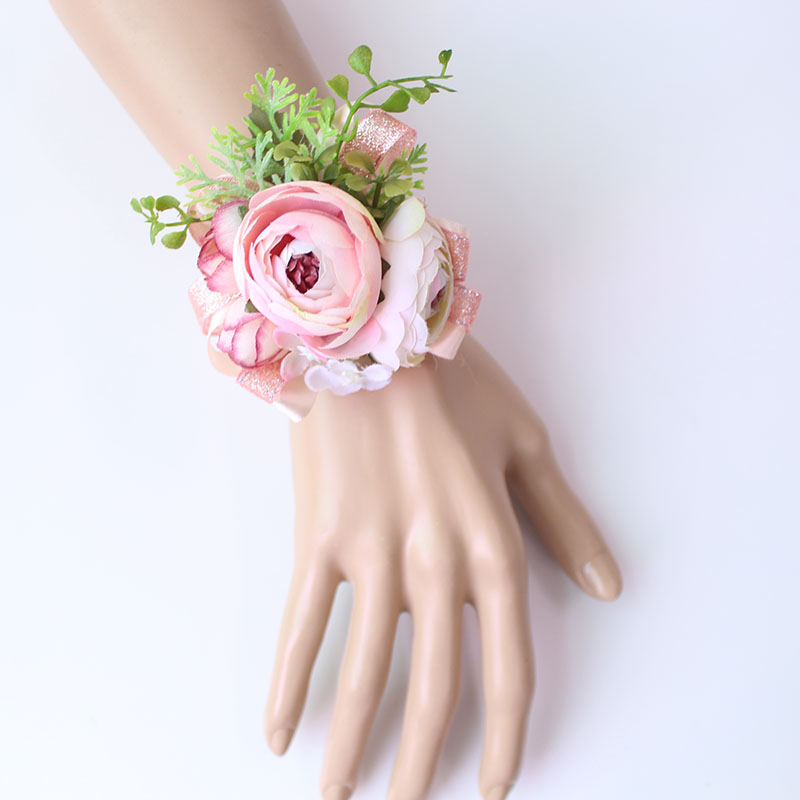Wrist Corsage Bracelet wrist flowers artificial flowers rose  (3)