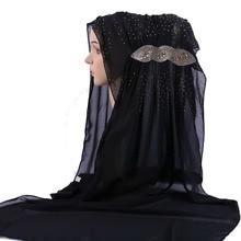 Fashion Exquisite Solid Color Rhinestone Woman hijab Chiffon Popular Shawls Scarf Headband Muslim Turban 17 Colors Free Shipping