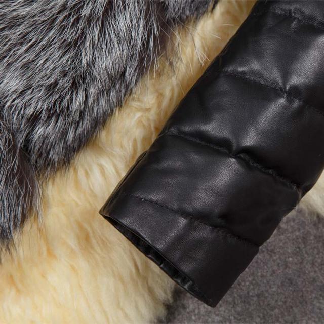 Clobee S-4XL Winter Coat Women Thick Faux Fox Fur Coat with PU sleeve Female Fur Jacket