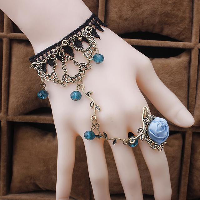 New 2Pcs Victorian Rhinestone Rose Flower Slave Bracelet Wedding Bridal Jewelry