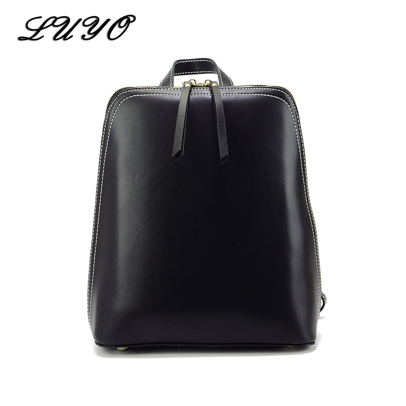 LUYO Fashion Multifunction Genuine Leather Female Backpacks Luxury Laptop Black Backpack For Teenage Girls Women Sac A Dos Sack luyo 100% soft genuine leather women backpack for girls youth woman ladies laptop bag daily backpack school sac a dos travel