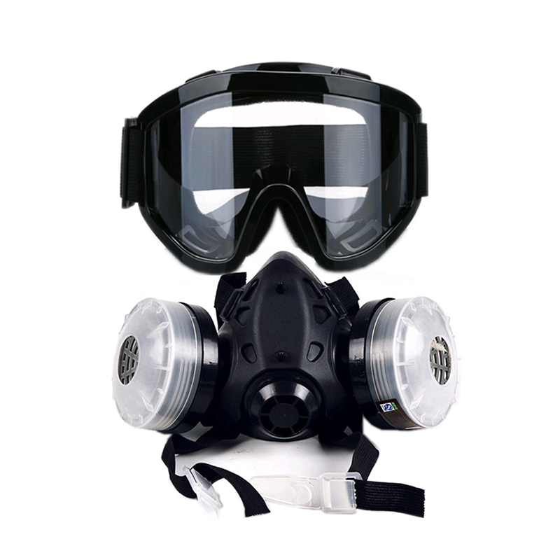 New Half Face Gas Mask With Anti-fog Glasses N95 Chemical Dust Mask Filter Breathing Respirators for Painting Spray Welding new safurance protection filter dual gas mask chemical gas anti dust paint respirator face mask with goggles workplace safety