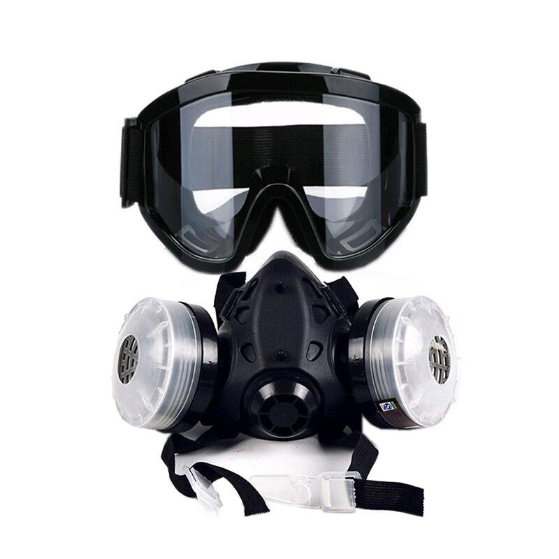 Nueva media cara máscara de Gas con Anti-niebla gafas N95 polvo químico filtro máscara de respiración respiradores para la pintura de Spray de soldadura