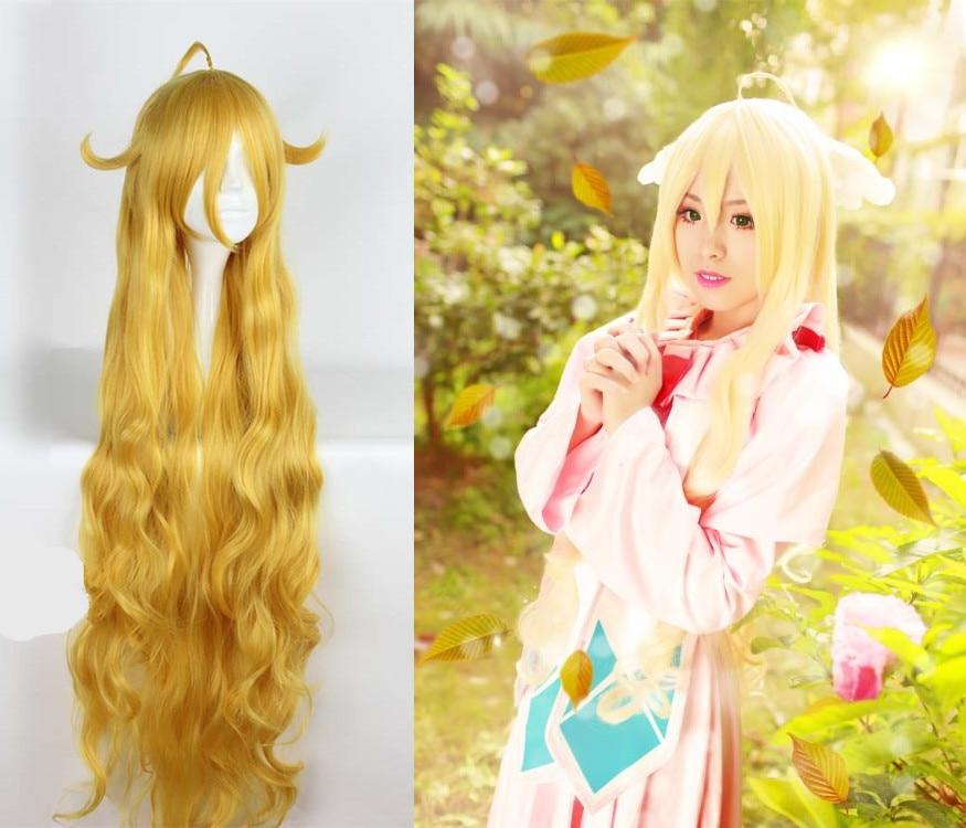 Japanese Anime FAIRY TAIL  women Mavis Vermilion cosplay wig role play Mavis long yellow wavy hair wig costumes
