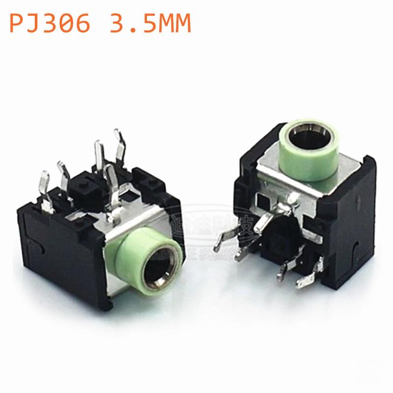 10pcs PJ306 PJ-306 Light Green Headphones Plug Female 3.5MM Headphone Socket Double Track Socket Stereo Socket