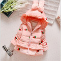 2016Lovely baby girl coats fashion strawberry knitting print clothes fashion bow lace baby girl winter snow wear 3-colour