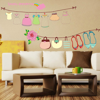 Clothesline Lovely Dressroom Flower Wall Sticker Home Decal Room Paper Art Picture DIY Murals Living Room Shop Window Decoration