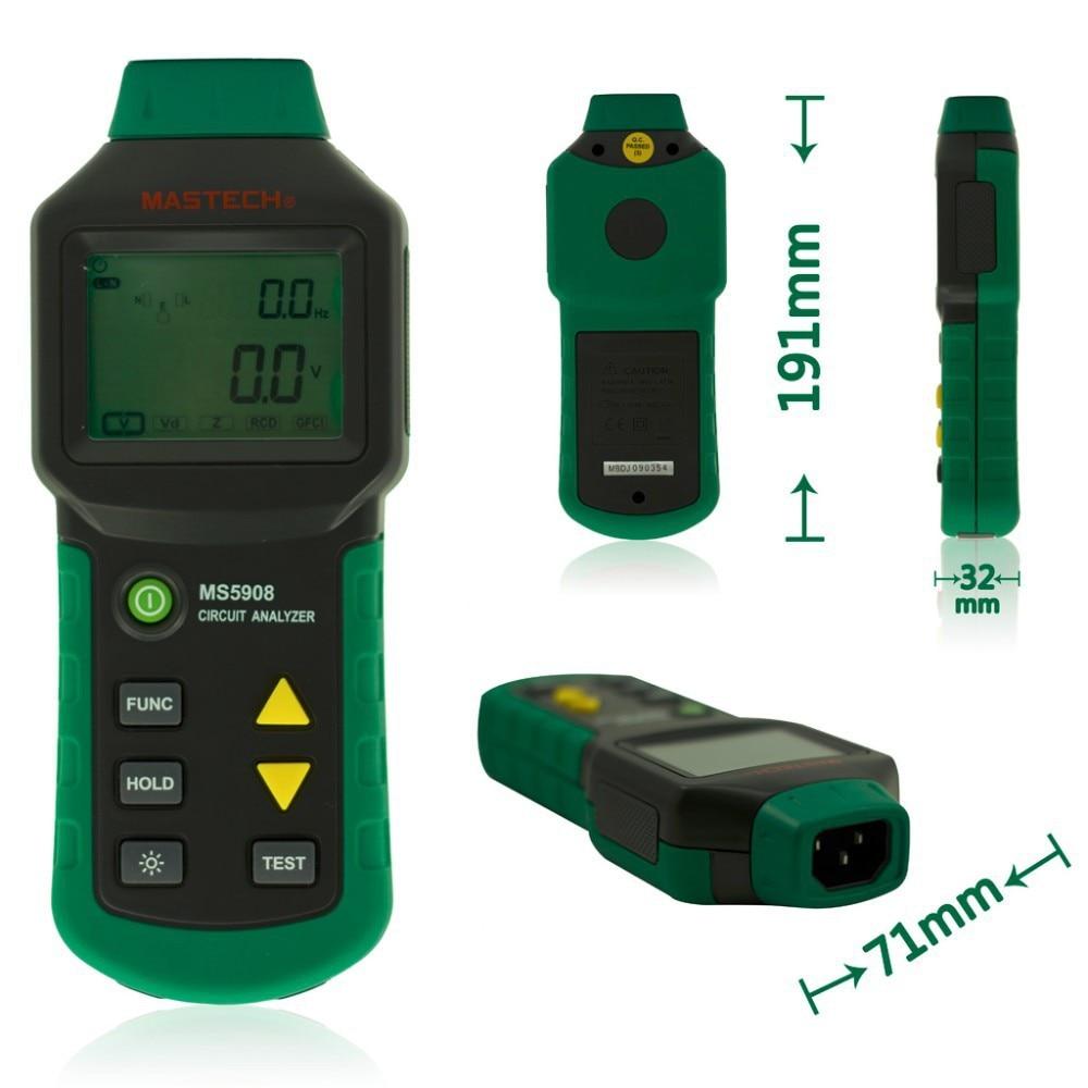 Mastech MS5908 Circuit Analyzer TRMS AC Low Voltage Distribution Line Fault Tester RCD GFCI Sockets Testing fault line