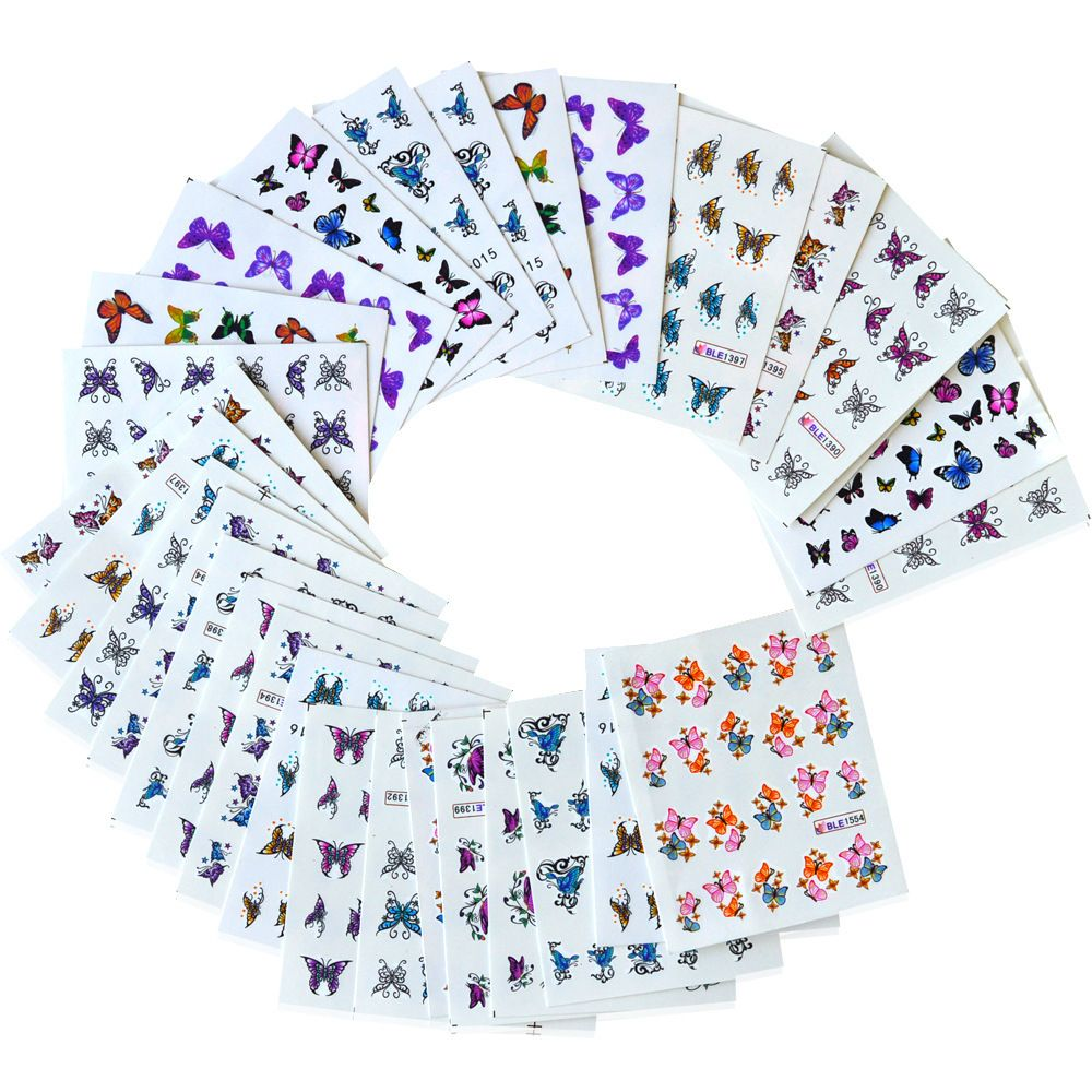 30 Sheets/Set Colorful Butterfly Designs Nail Art Sticker Watermark DIY Nail Art Transfer Foils Decoration Manicure Tools