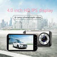 H33 4,0 pulgadas HD 1080 P montura en vehículo DVR lente Dual 8-lámpara infrarroja cámara de visión nocturna grabadora de vídeo montada en el vehículo de onda corta