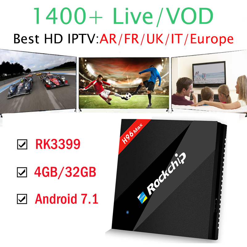 4GB 32GB Android 7.1 Smart TV Box RK3399 1400+ IPTV Channels 1 Year Arabic French Italy IPTV Subscription H96 MAX 4K HD IPTV Box 1 year italy iptv europe iptv in h96 max android iptv box 4g 32g rk3399 mali t860 gpu android 7 0 set top box italy uk spain