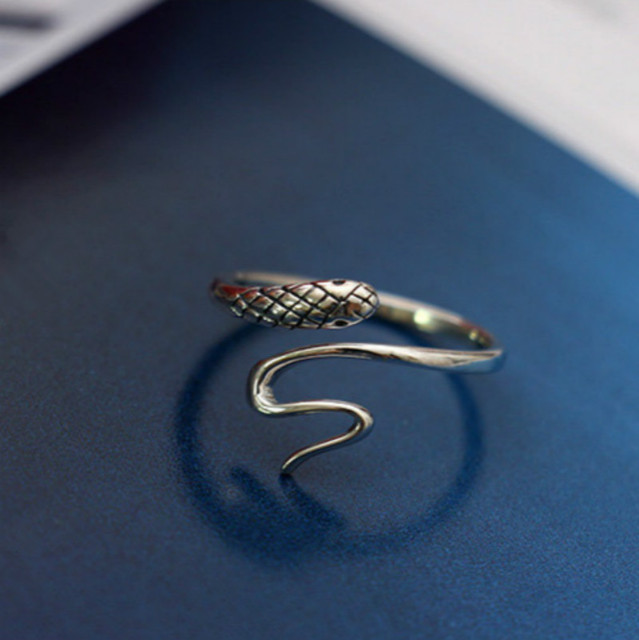 Flyleaf 925 Sterling Silver Small Snake Open Rings For Women Vintage Style Lady