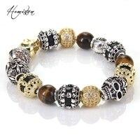 Thomas Style KM Bead Bracelet With Tiger S Eye OWL Skull Lily Beads Karma Bracelet Rebel