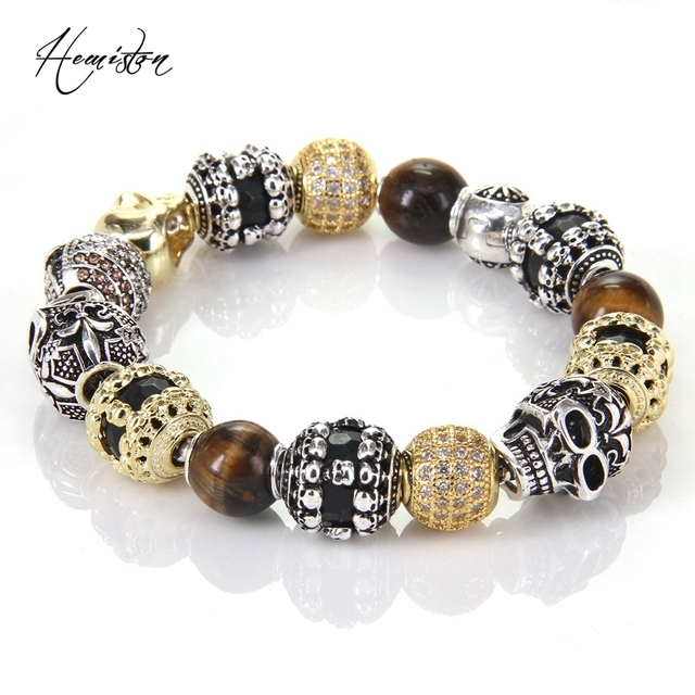 Thomas Style Km Bead Bracelet With Tiger S Eye Owl Skull Lily Beads Karma Rebel