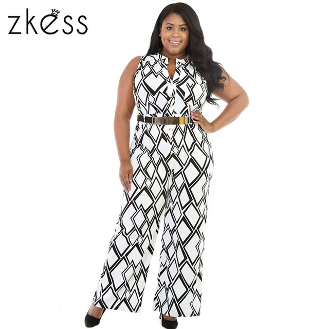 ZKESS White Plus Size XXXL Women Jumpsuit Long Pants Box Print Wide Leg Summer Jumpsuits LC64086