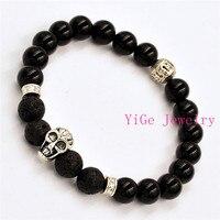Wholesale 10pcs Lot 2015 New Skull Bracelets 8mm Natural Black Agate Lava Stone Beads Jewelry Gift