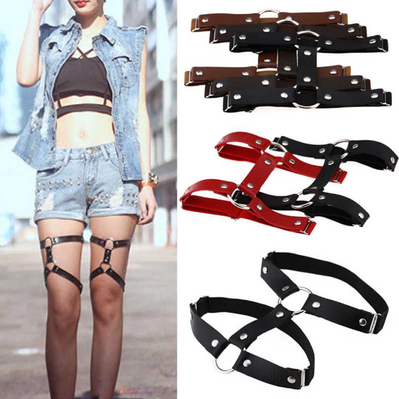 1 PC Fashion Women Sexy Harajuku Style Adjustable Elastic Leg Garter Belt Suspenders Rivet Leg Ring PU Leather Punk Socks