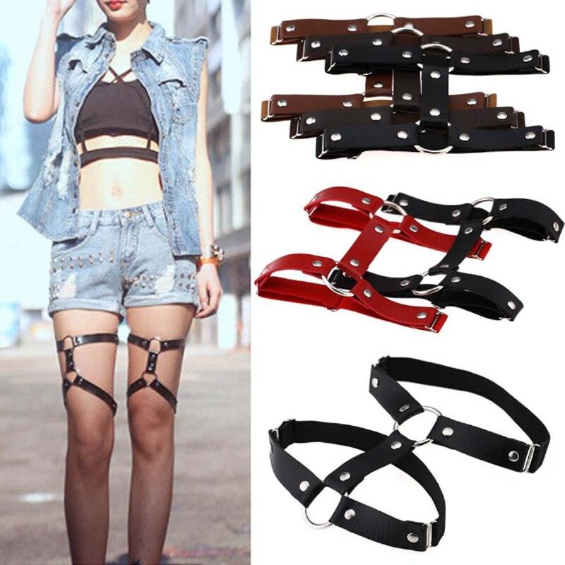 1 PC Fashion Women Sexy Harajuku Style Adjustable Elastic Leg Garter Belt Suspenders Rivet Leg Ring PU Leather Punk Socks