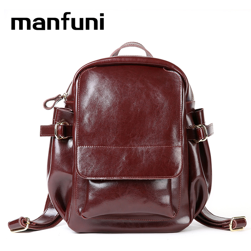 MANFUNI Genuine Leather Backpack Retro Vintage Bag Designer cross body Carrying bag Travel Oil Wax Cow Female Knapsack Bag kajie famous brand designer backpack for women 2018 retro genuine leather female back pack oil wax cow leather ladies travel bag