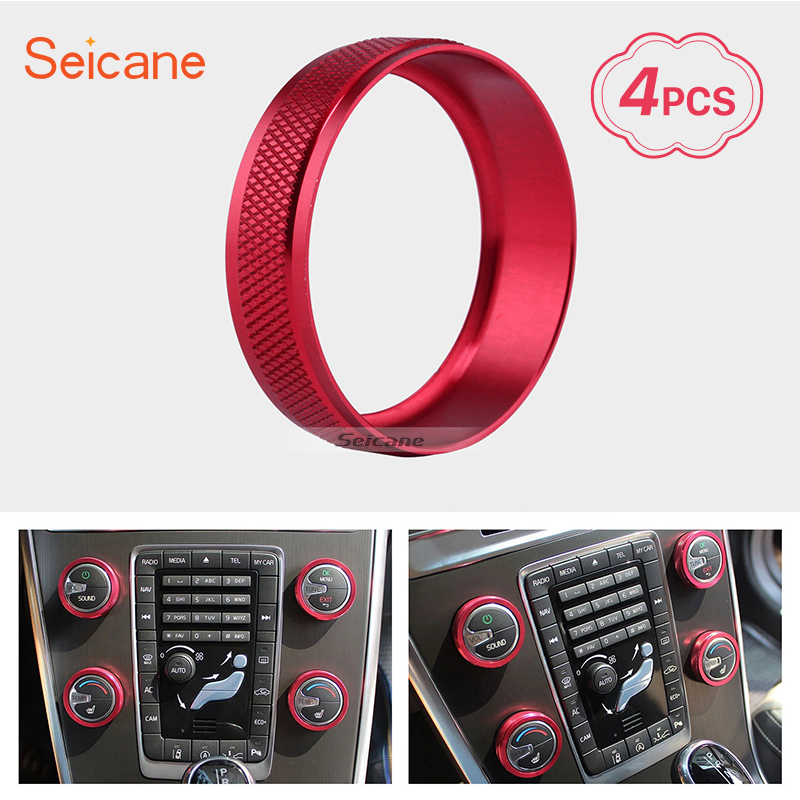 Seicane Colorful Air Conditioning Knobs Decoration Kit for Volvo XC60 S60 V40 S80L 2011-2014 Car Interior Audio Ring Cover kit
