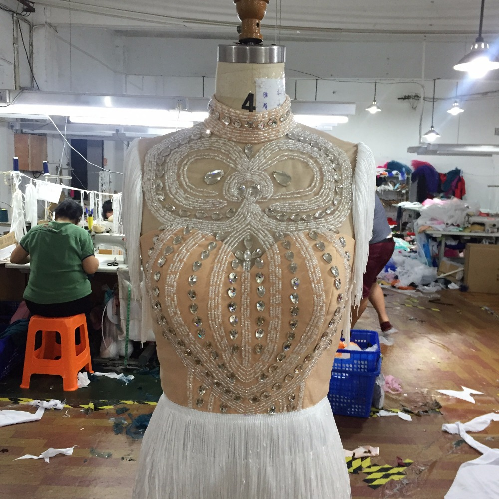 vestidos festa borla pena robe soiree