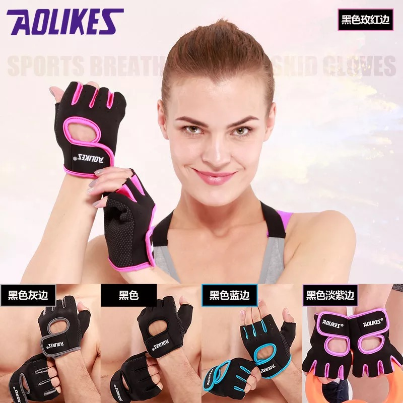 1 Pair Sports Gloves Half Finger Fitness Riding Wrist Gloves Climbing Slip Breathable Sport Gloves Gym Weightlifting Gloves