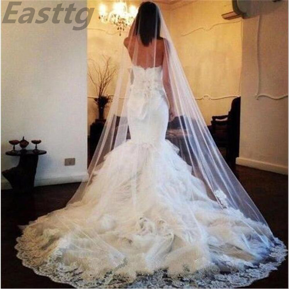 Ivory/White Cathedral Length one Layer Lace Edge Wedding veil Bridal Veils with Comb Veu De Noiva Wedding Accessories