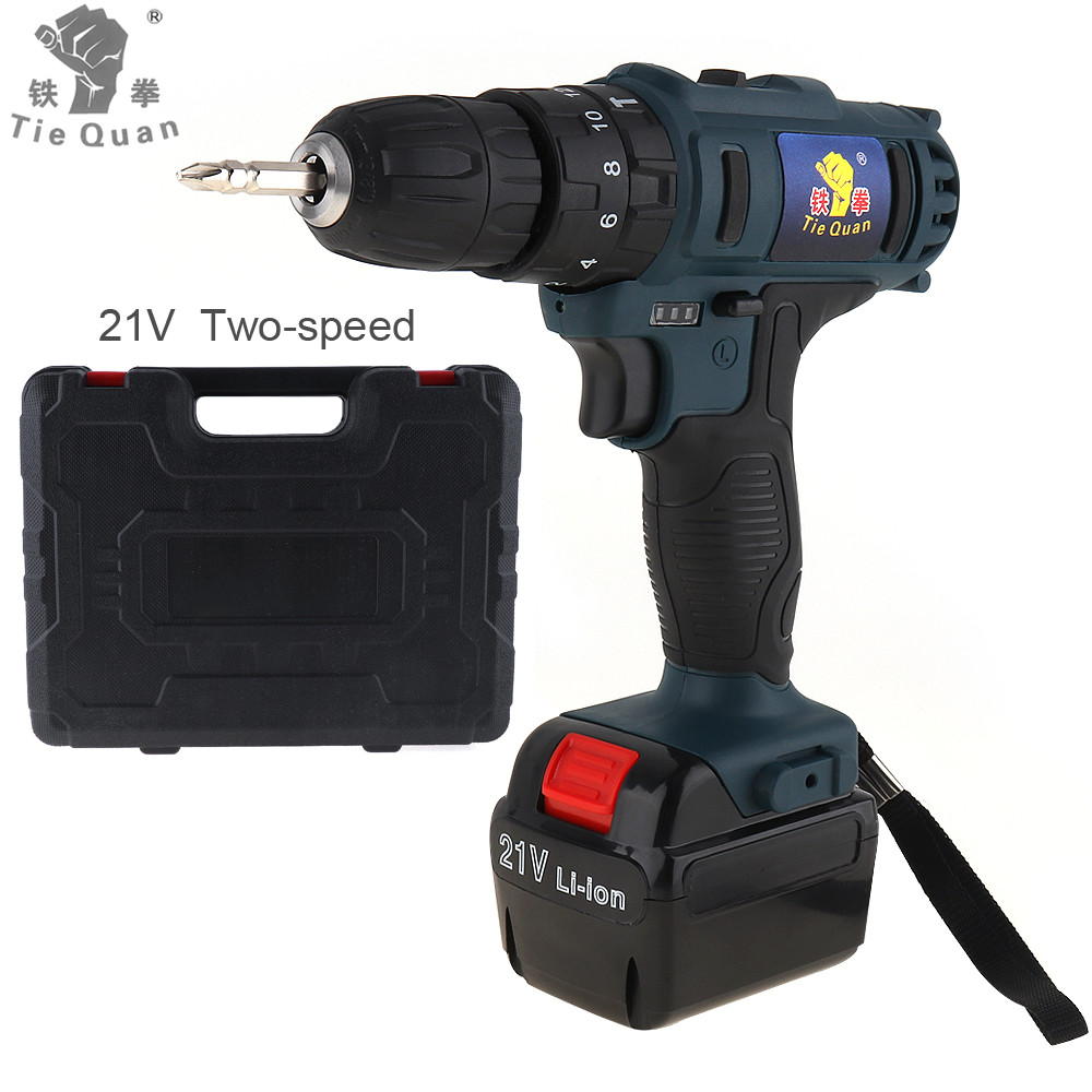 Impact Cordless 21V Electric Drill Screwdriver Lithium Ion Battery Two Speed Household Power Tools for Handling