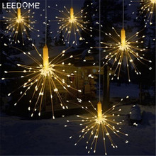 Leedome Outdoor IP65 Hanging Starburst String Light 100LEDs 200 Leds DIY Firework Flexible Copper Fairy Garland Twinkle Lighting