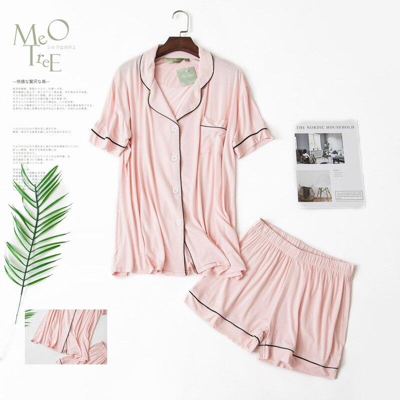 Image 4 - Sexy Couples short modal pajamas sets women and men sleep indoor korean pyjamas Summer short sleeves pijamas de las mujeresPajama Sets   -