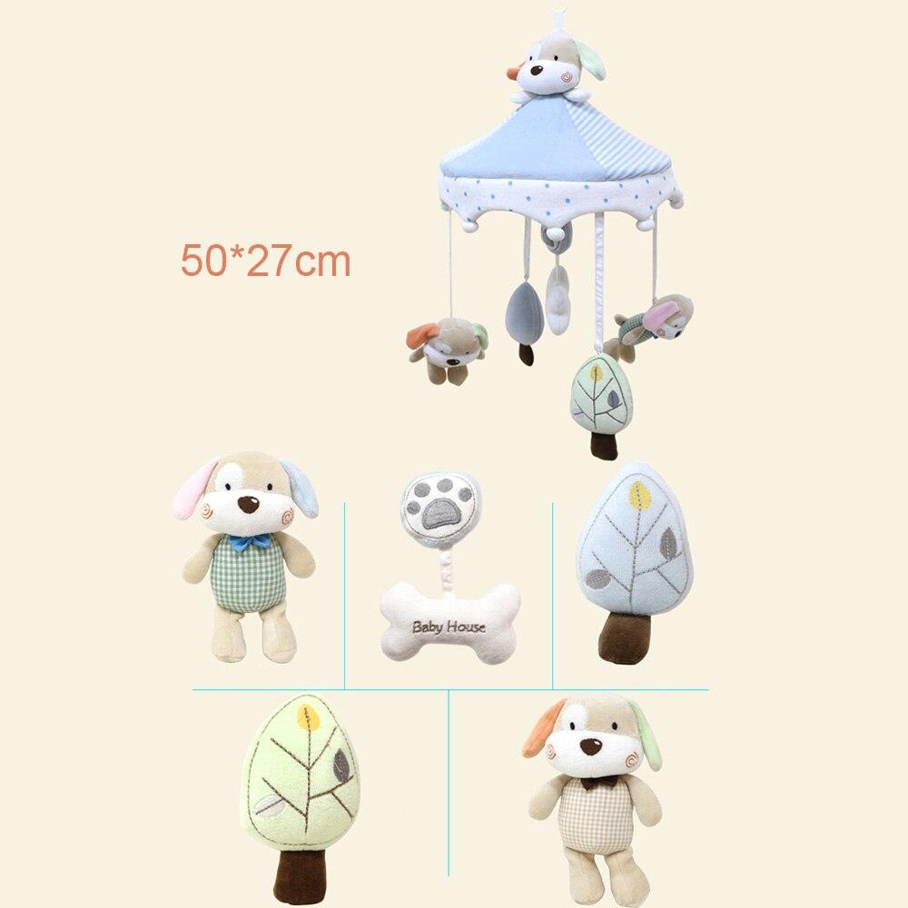 Nouveau-né infantile berceau hochets cloche jouet dessin animé Animal en bas âge lit suspendu chien heureux maison bébé en peluche vent carillon jouets - 5