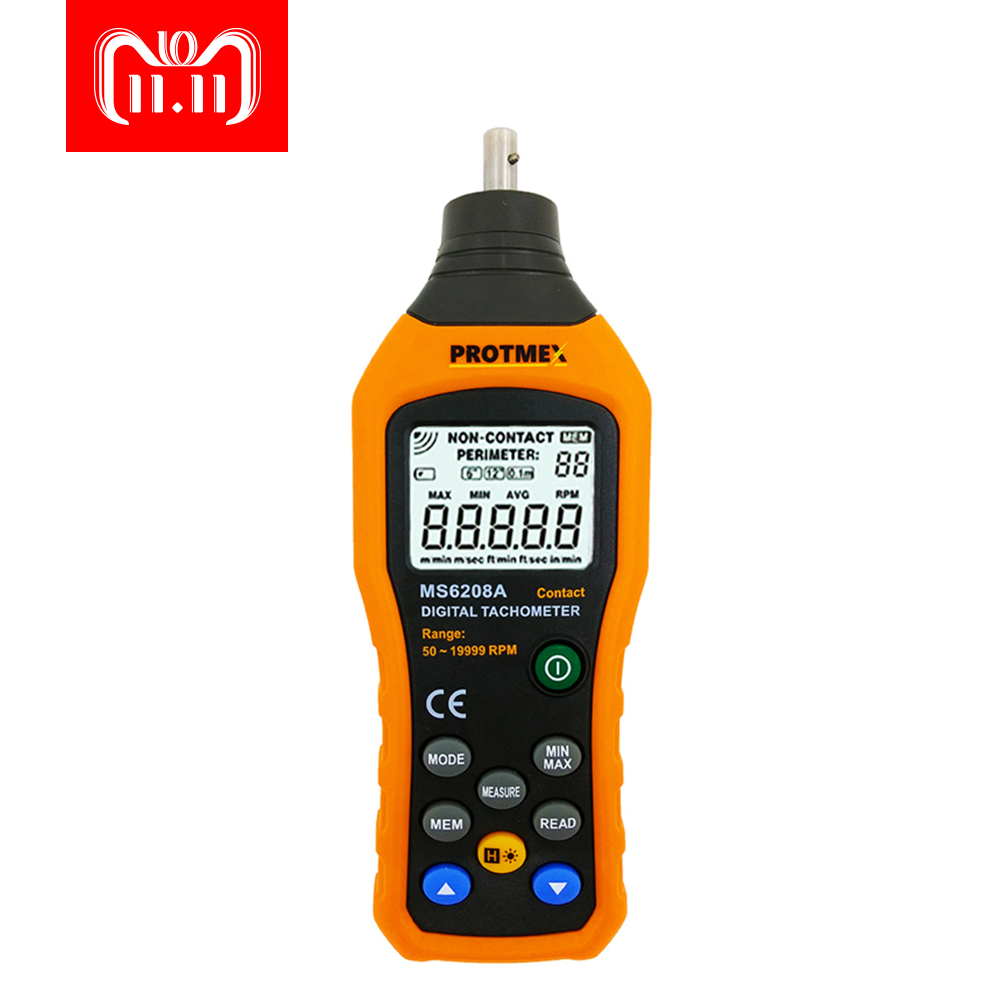 PROTMEX PT6208A LCD Display High Performance Revolution Meter Contact-type Digital Tachometer with Data Logging Backlight