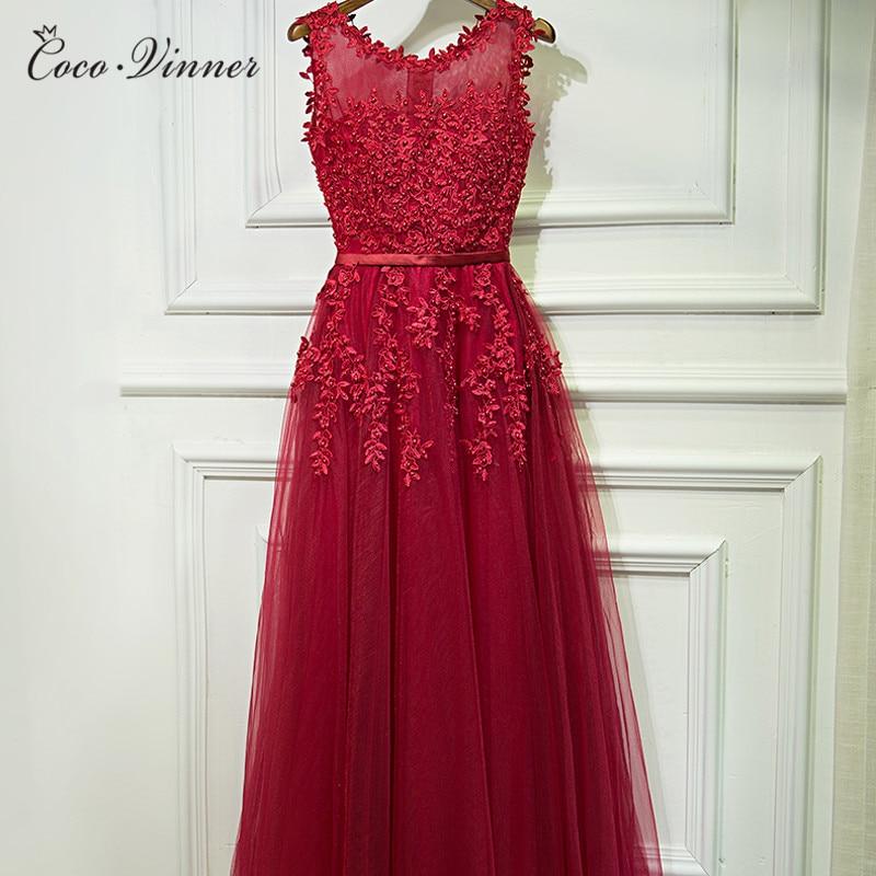 Evening dress spring new o neck floor length appliques lace red bridal long evening dresses women robe de soiree E0017