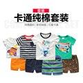 T-shirt de algodão 2017 verão novo do bebê do menino curto terno das crianças de duas peças U2951 calções