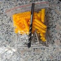 小さな黄色のニベ科の魚プラスチック拡張チューブスクリューコネクタm6 * 40拡張チューブ+ステンレス鋼/カラー亜鉛ネジ(50セット)