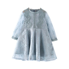 Baby Girls Dress Flower Lace Hollow Princess Costume Kids Dresses for Girl Princess Summer Girls Party Frocks Children Clothing 2017 spring girls princess dress children clothing denim lace evening dress kids long sleeve party dresses baby girl costume