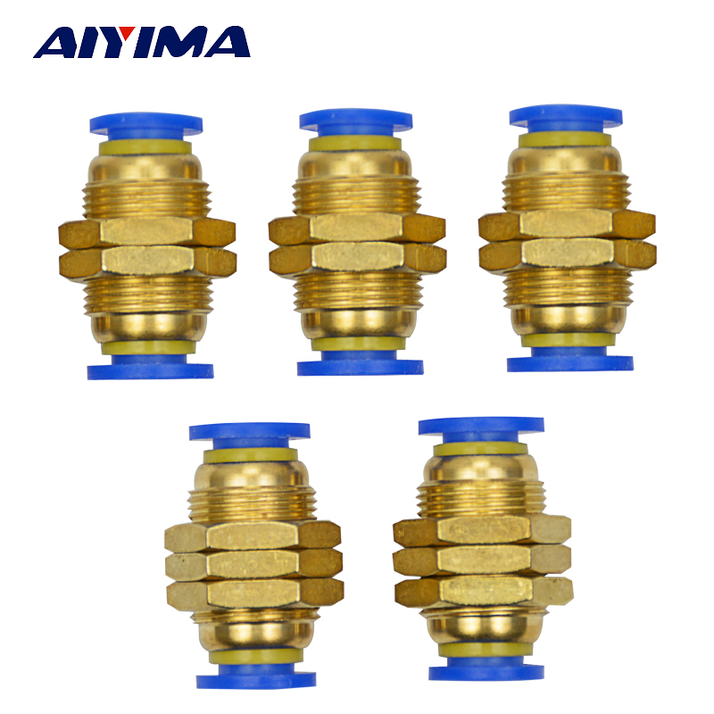 AIYIMA 10pcs 8mm Pneumatic Bulkhead Connector Push In Fittings Air Water Hose new 1 pcs pneumatic push in fittings connector for air water hose