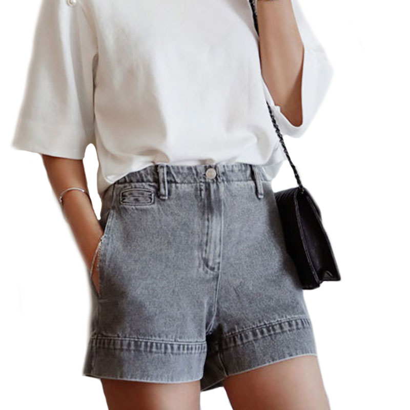 2017 Spring Summer Shorts High Waist Washed Spliced Straight Denim Short Pants Grey Casual Women Plus Size Solid Denim Short XL
